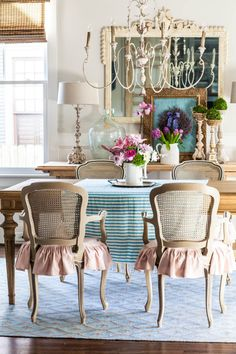 Decorate for spring by adding fresh color to your home. Place moss balls on tall candlesticks, fill cloches with birds nests, and add colorful pillows and cushions | Cedar Hill Farmhouse #springdecorating #spring