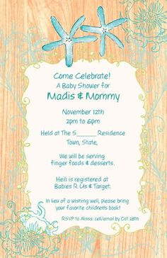 ocean friends beach baby shower invitations by partypopinvites, Baby shower invitations