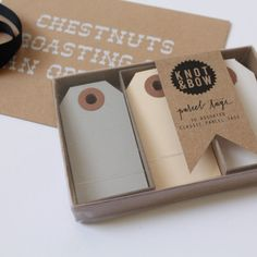 Knot & Bow | parcel tag gift box set in neutral tones | Quill London wrapping | UK at Quill London