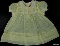 #Nannette USA #Baby Dress #Frock Yellow Dotted Swiss 15 mo 1950s Bear Reborn Doll Vintage Organza