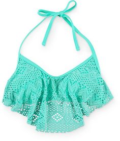 Take a trip to the islands and enjoy the sun and sand in this Island Crochet Flounce Mermaid Bikini top by Malibu. The tie straps allow for a custom fit while the lightly padded cups will let your body create the shape of this bikini top.