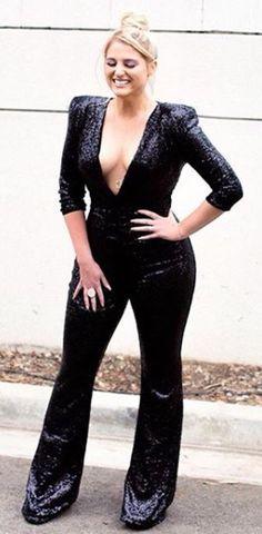 e6e529815887 Spott - Meghan Trainor looks gorgeous in a black jumpsuit by Nadine Merabi