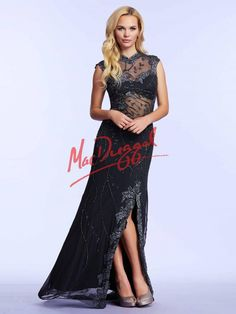 Stretch Jersey Prom Dress | Charcoal Gray Dress with Lace | Mac Duggal 1980M