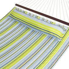 Best Choice Products Hammock Quilted Fabric With Pillow Double Size Spreader Bar, Blue and Green Stripe | Smart Pinner