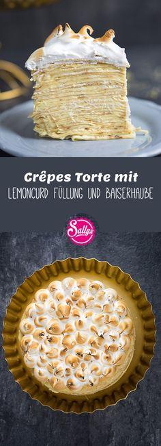 Geschichtete Crêpes Torte mit fruchtiger LemonCurd Füllung und flambierter Baiserhaube.