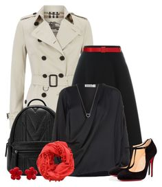 """""""Rock this look with a trench coat..."""" by juliejones-333 ❤ liked on Polyvore featuring Burberry, DKNY, Victoria Beckham, Christian Louboutin, Marni, Pisu Bazaar, Chanel, Tiffany & Co., polyvorecommunity and polyvoreeditorial"""