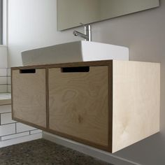 Birch plywood vanity, finished in waterproof lacquer read to install