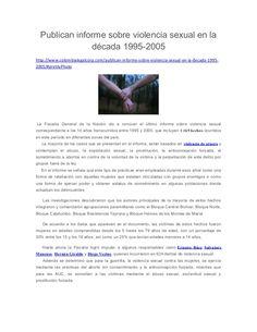 Publican informe sobre violencia sexual en la década 1995-2005