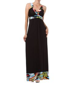 Take a look at the Turquoise & Black Abstract Trim Surplice Maxi Dress on #zulily today!