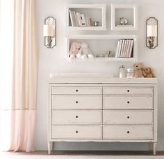 RH baby&child's Marcelle Wide Dresser:Classic and refined, our collection features raised-panel drawers, fluted sides and turned legs that reflect the 18th-century French antiques that inspired it.