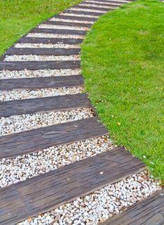 Wood and stone walkway