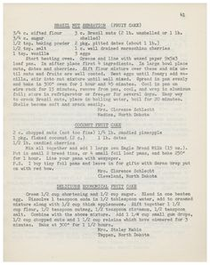 Favorite Recipes From Members And Friends Of The Evangelical United Brethren, 1964 - Brazil Nut Sensation Fruit Cake, Coconut Fruit Cake, Delicious Economical Fruit Cake  http://www.amazon.com/gp/product/B01M720P6I/ref=cm_sw_r_tw_myi?m=A3FJDCC1SFO8CE