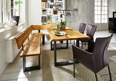 Not only used as the main material in the foundation of the house, but wood is also a favorite material to be used in decoration and furniture elements. Some Temporary Architecture, In Natura, Table Dimensions, Cedar Roof, Dining Room Design, Home Look, House Rooms, Furniture Making, Industrial Style