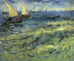"""Vincent van Gogh: """"Fishing Boats at Sea"""", 1888. (Pushkin Museum of Fine Art, Moscow, Russia.) http://www.arts-museum.ru/index.php?lang=en"""
