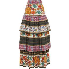 Stella Jean Mietitore Skirt ($920) ❤ liked on Polyvore featuring skirts, cotton skirt, floral print skirt, cotton tiered maxi skirt, ankle length skirt e floor length skirt