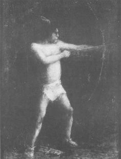 """""""Hiawatha"""" (Shooting the Arrow) by Ralph Blakelock (1847-1919), 19th century. Oil on canvas, 8-3/16 x 6-3/16 inches. Worcester Art Museum"""