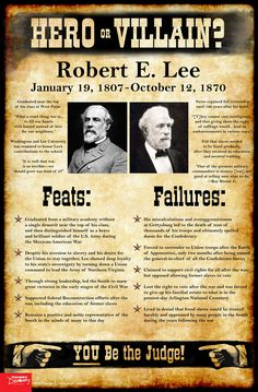 History tends to judge our past leaders as extremes: Abraham Lincoln was an American hero! Benedict Arnold was a traitor! As teachers, it's tempting at times to present a world as black and white to our students: good or evil, friend or foe, hero or villain. Use this Robert E. Lee mini-poster to help students take off the rose-colored glasses and see beyond the established historical narratives and into the real world of gray. ©2016. 11 x 17 inches. Cardstock.
