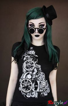 black t-shirt steampunk goth mechanism | CLOTHING \ T-shirts | Restyle.pl