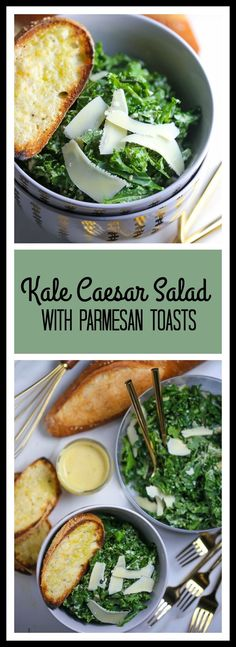 Kale Caesar Salad with Parmesan Toasts