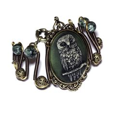 Neo Victorian Steampunk  Jewelry - Bracelet - Owl Cameo - Dark Green Background - Seraphinite
