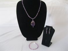 Amethyst Gem Stone Pendant, matching bracelet, and earrings, jewelry set. #MDJewelCraft