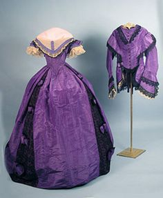 Purple silk ball gown with fantastic matching jacket, listed as 1860's, from Whitaker Auctions, Fall 2005