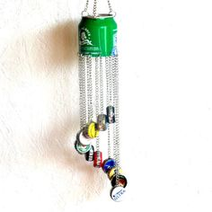 Beer Bottle Cap Wind Chime  Rolling Rock .... think it would be great for Christmas