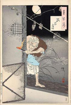 Yoshitoshi Tsukioka.『孤家月』(『月百姿』シリーズ、作・月岡芳年)