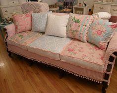 """shabby chic slipcovered sofa vintage chenille and roses fabrics"""