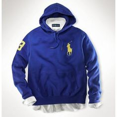 """Men's Ralph Lauren Big Pony Fleece Pullover Hoodie Dark Blue,Classic-fitting long-sleeved hoodie, constructed in soft cotton fleece and finished with classic sporty details for comfy, casual style. *Hooded construction with drawstring ties at the throat. *Kangaroo pocket with ribbed openings at the waist. *Our embroidered """"Big Pony"""" logo accents the left chest and 3 accents the right arm. *100% Brand New. Machine washable."""
