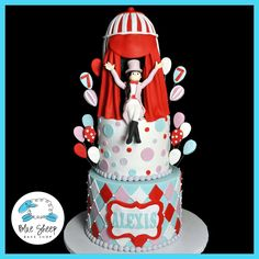 Customer request: Vintage circus birthday cake from Blue Sheep Bake Shop Circus Theme Cakes, Carnival Cakes, Themed Cakes, Circus Birthday, Cool Birthday Cakes, Circus Party, 2nd Birthday, Birthday Ideas, Fondant Figures