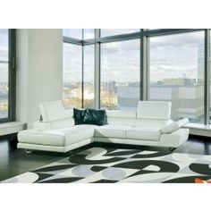 8018 Modern White Bonded Leather Sectional Sofa - 1995.0000