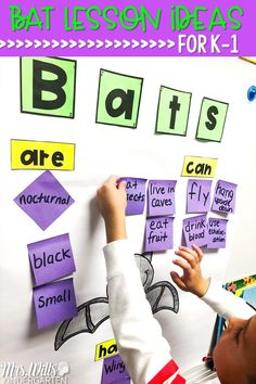 Check out these fun lesson plan ideas for kindergarten and first grade! Students will be engaged in reading comprehension lessons, math and literacy centers, and crafts. Video and snack ideas, too! #batlessonplanideas #stellaluna #batlovesthenight #batlessonplans