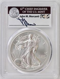 2012 W American Silver Eagle Proof PCGS PR70 DCAM Mercanti Signed