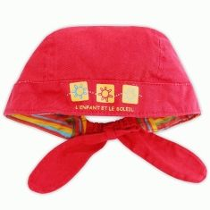 Chapeau bandana pour bébé en coton rose corail