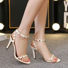 Rivets Open Toe Ankle Wrap Stiletto High Heels Sandals – ebuytide Sexy Heels, High Heels Stilettos, Stiletto Heels, Ankle Straps, Ankle Strap Sandals, Buy Boots, Pantyhose Heels, Warm Boots, Fashion Boots
