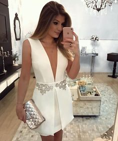 Very nice white dress with silver details Sexy Dresses, Cute Dresses, Beautiful Dresses, Evening Dresses, Short Dresses, Fashion Dresses, Formal Dresses, Vestidos Sexy, Mode Outfits