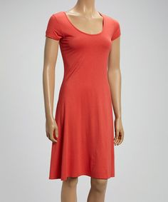 Another great find on #zulily! Coral Scoop Neck Shift Dress #zulilyfinds