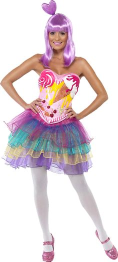 Shop Katy Perry Costumes from the California Girl video. Browse our Candy Costumes, Celebrity Costumes & Licensed Katy Perry Wigs at the best prices. Candy Girls, Katy Perry Fancy Dress, Katy Perry Kostüm, Candy Costumes, Girl Costumes, Costumes For Women, Costume Halloween, Halloween Fancy Dress, Halloween Queen