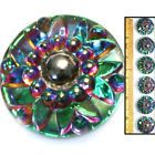 REDUCED 24mm Vintage Czech Glass Mirror Faceted Green/Purple AB Domed Buttons 6p