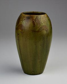 Alfred William Finch, vase w/ mossy green glaze, Porvoo, Finland, from early 1900s