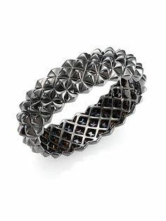 Stephen Webster - Blackened Sterling Silver Studded Bangle Bracelet - Saks.com