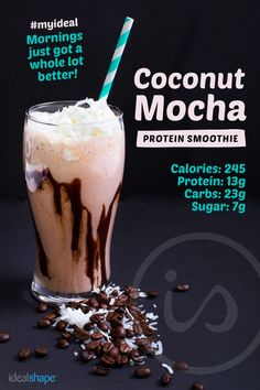 Iced Coconut Mocha Shake - it's as good as it sounds! Recipe: 1 cup Almond Breeze Coconut Almond Milk 1 scoop #Mocha IdealShake 2 T. unsweetened coconut flakes 2 T. sugar free chocolate syrup Add ice, blend, and enjoy!