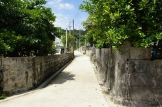 A village road, Okinawa, Japan so narrow, you have to back out to let another car pass! Great Places, Beautiful Places, Okinawa Japan, Small Island, Homeland, Retirement, Wander, Countries, Cities