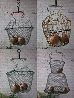 love the vintage wire fishing basket on the lower right. Use for produce to hang in the kitchen, run a light inside and use as a shabby chandelier, fill with glass fishing floats, or planting flowers in the garden... possibilities are endless :)