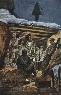 Anónimo – ….E là , nella trincea vigile ed ospitale, inneggia alla vittoria il soldato italiano nel giorno di Natale (1915-1921)
