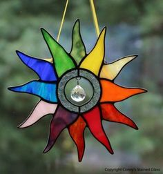 Radiant Multicolor Sun Stained Glass Suncatcher - All For Light İdeas Stained Glass Angel, Stained Glass Ornaments, Stained Glass Christmas, Stained Glass Birds, Stained Glass Suncatchers, Stained Glass Designs, Stained Glass Projects, Stained Glass Patterns, Stained Glass Windows