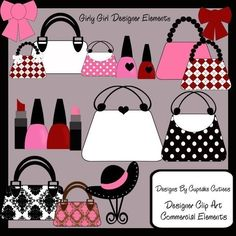 Girly Girl Elegant Clipart Commercial use for Cards, Stationary and Paper…
