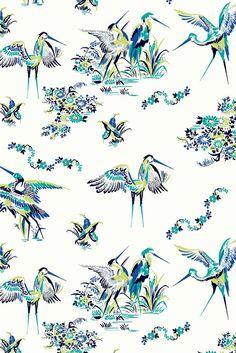 Gorgeous crane wallpaper design called Grulas De Papel.