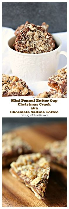Mini Peanut Butter Cup Christmas Crack aka Chocolate Saltine Toffee is the ultimate chocolate treat for the holidays. It is incredibly easy to make and impossible to resist. Whip up a batch today! New Year's Desserts, Best Dessert Recipes, Candy Recipes, Sweet Recipes, Holiday Recipes, Snack Recipes, Baking Desserts, Christmas Recipes, Baking Recipes
